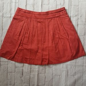 The Limited Pleated Salmon Rust A-Line Skirt